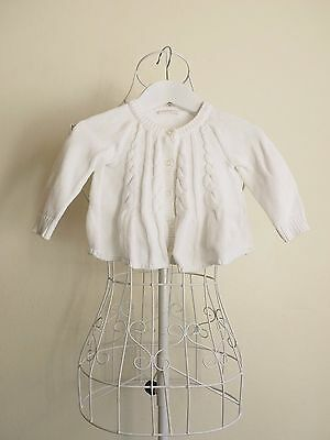 """""""Baby Lindex"""" Baby Girl Size 4-6M White Cardigan Great Condition! Bargain Price!"""