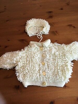 Hand Knitted Baby Cardigan With Bonnet Age 3-6 Months Pale Lemon