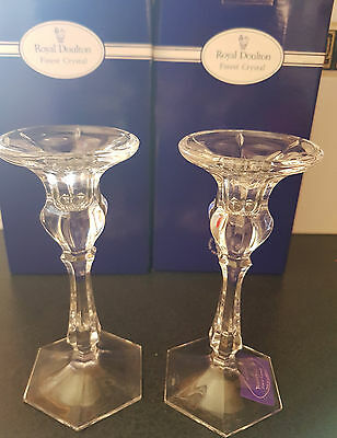 ROYAL DOULTON PAIR OF  CRYSTAL CANDLE HOLDERS NiB WITH TAG- MADE IN GERMANY