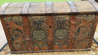 Antique 1855 Norwegian wedding  immigrant trunk