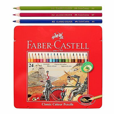 Faber Castell Classic Color Pencils Tin Case 24 Colors School Drawing Painting