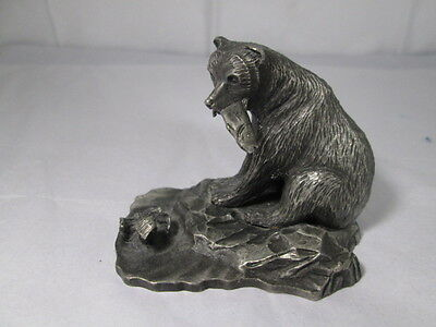Vintage Pewter Sculpture Brown Bear Catching Salmon