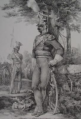 Nicolas Toussaint CHARLET 1825 ORIGINAL LITHOGRAPH Army Officer in Full Dress