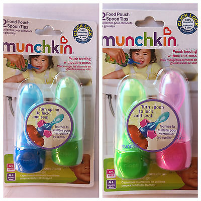 Munchkin 2 Food Pouch Spoon Tips - (Assorted Colors)