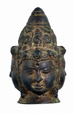 Asian bronze head representing unidentified Buddhist deity, composed o... Lot 39