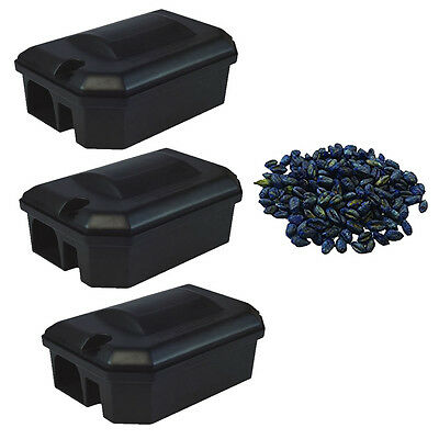 3 x RODENT BAIT STATION BOX NO TRAP & 600g GRAIN POISON Rat Mouse Mice Pest