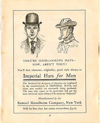 1906 WD Ad Samuel MUNDHEIM Company Imperial Hats for Men New York Bowler Hat