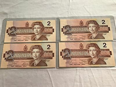 4 1986 Two Dollar Bills 3 Uncirculated 1 Replacement