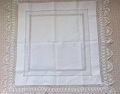 Lovely Vintage, Hand Embroidered Lace Edged, Table Cloth Linen