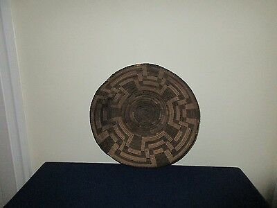 Antique Native American Indian Pima Papago Decorated Basket Bowl Tray 11 1/4""