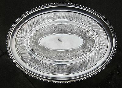 Regency or Victorian silver plate oval tray/salver:  engine-chased decoration