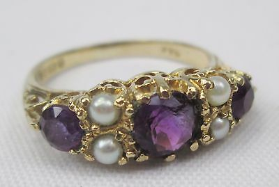 Vintage Ornate 9ct Gold Three Stone Amethyst & Seed Pearl Ring Size N