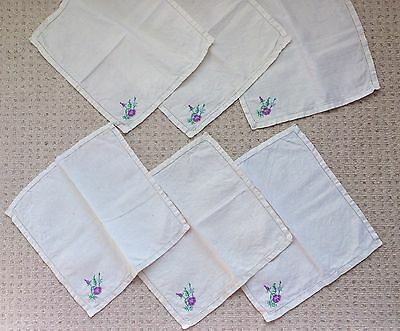 Collection Of 19 Assorted Vintage, Hand Embroidered Napkins, Linen ~ Floral