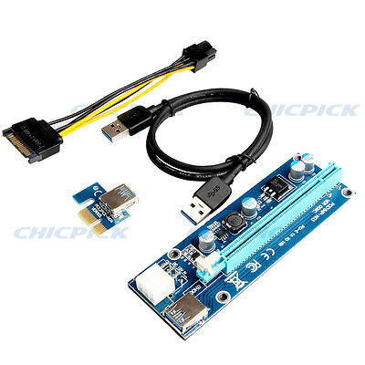 USB 3.0 PCI-E Express 1x To 16x Graphics Extender Riser Card Adapter Power Cable