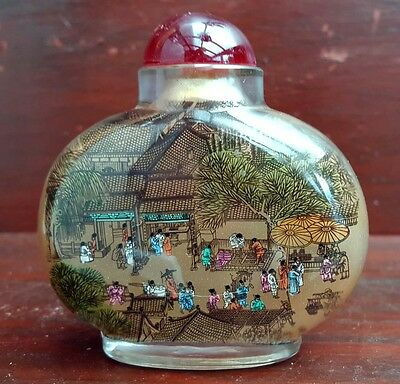 Chinese antique large snuff bottle hand painted (2)