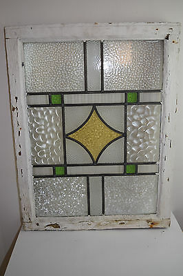 Salvage Stained Glass Leaded Framed 1930's Window