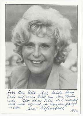 Leni Riefenstahl - German actress and director signed photo
