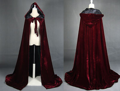 Cloak Gothic Hooded Velvet Cloak Gothic Wicca Robe Medieval Witchcraft Larp Cape