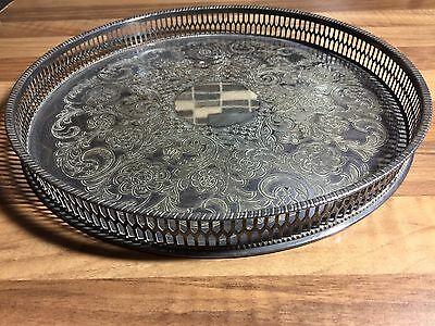 VINERS Silver Plate CIRCULAR GALLERY TRAY - Vintage Alpha Plate Chased