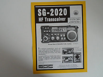 Sgc Sg-2020 Hf Transceiver (Genuine Leaflet Only)..........radio_Trader_Ireland.