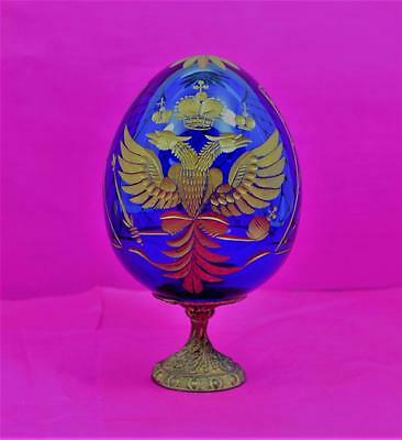 Russian Cobalt Blue & Gilt Easter Egg Imperial arms decoration with Stand