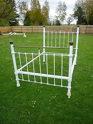 Antique Brass & Wrought Iron Bed- White & Brass- Good Condition