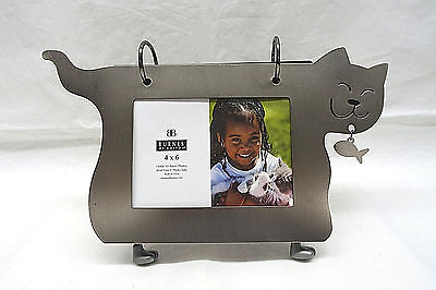 "Burnes of Boston Kitty Cat Metal Cutout 4"" x 6"" Picture Album Holds 50 Photos"