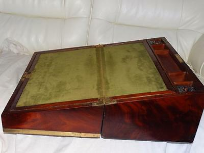 VICTORIAN FLAME MAHOGANY WRITING SLOPE,BRASS BANDING,COLLECTIBLE,GOOD CON. c1880