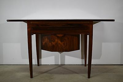 Danish mid century rosewood sewing table with drop leaf, Johannes Andersen