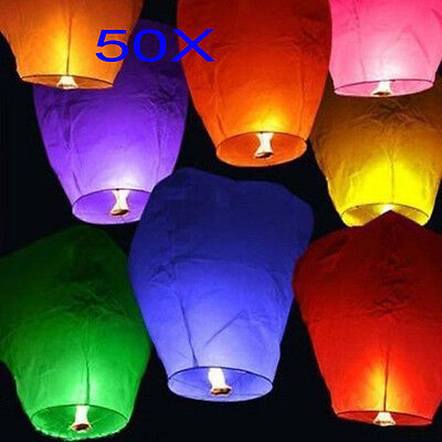 NEW 50X White Paper Chinese Lanterns Sky Fly Candle Lamp for Wish Party Wedding