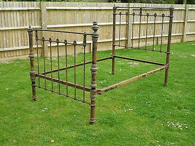 Antique Brass & Wrought Iron Bed For Restoration