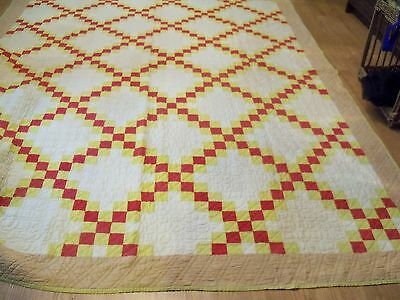 Beautiful Antique Quilt - Red, Lime, White, Beige Cottons - Striking & Well Done