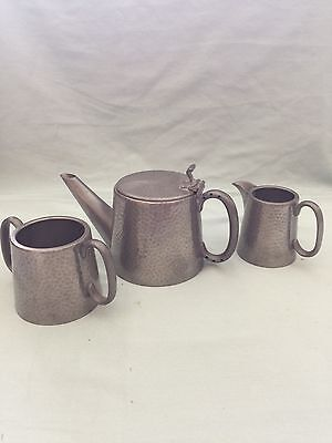 Vintage Hammered English Pewter Tea Pot with creamer and sugar. made in England