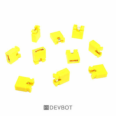 Lot de 10 à 100 Cavaliers Jaune, pas de 2,54 mm Jumper. DIY, Arduino, Pi, CM, HD