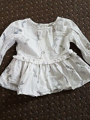 next girls white bunny blouse 6-9 months