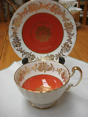 Aynsley gilded orange Tea Cup & Saucer Made In England TR9