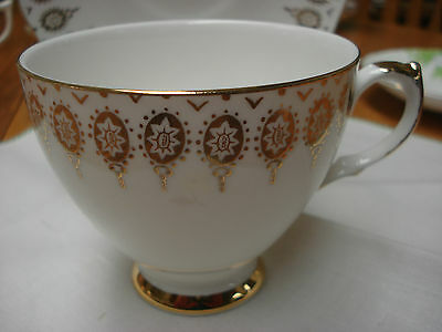 Queen Anne Gilded Patterned Tea Cup & Saucer Made In England TR9
