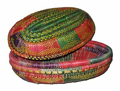 Colorful Handmade Ethiopian Basket with Lid : Ethiopia African Decor
