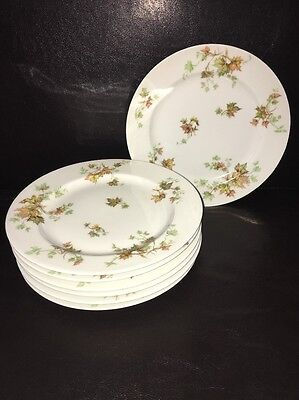 """Set of 7 Haviland Autum Leaf 8 5/8"""" Luncheon / salad Plate made in France"""