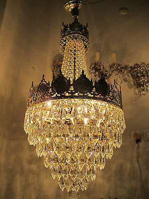 Antique Vnt French Basket Style Crystal MOSQUE Chandelier Lamp 1940's