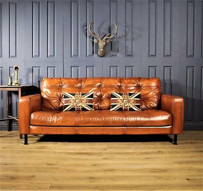 Leather 3 4 5 Seater Sofa Halo Cigar club Suite Chair Vintage Chesterfield deco