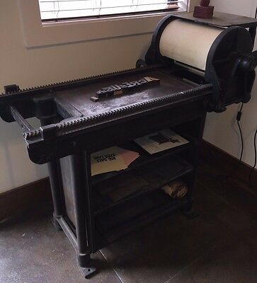 Vandercook #14 Letterpress Proof Press and Type in Hamilton Cabinet