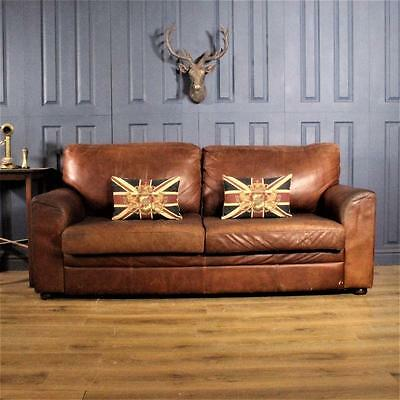 Leather 3 Seater Sofa Halo Cigar club Suite tan Chair Vintage Chesterfield deco