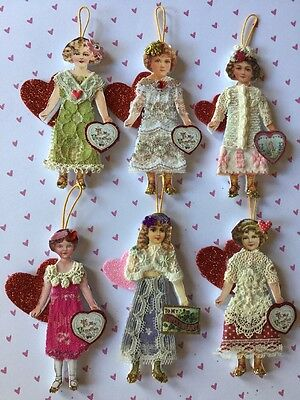Lot of 6 Handcrafted Victorian Style Paper Doll VALENTINE Girl Heart Ornies OOAK