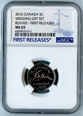 2016 Canada Ngc First Releases Ms65 Wedding Gift Set-Beaver Nickel 5C! Rare!