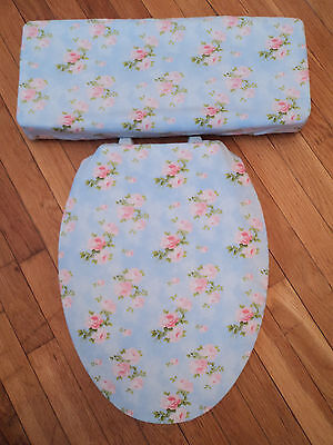 Sky Blue with Peachy Pink Roses Bathroom Decor Toilet Seat & Tank Lid Cover Set