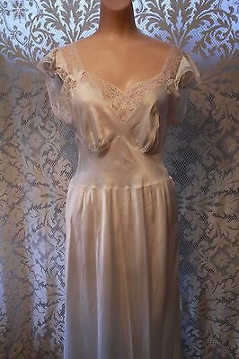 Vintage Ivory Wedding Night 1940s Nightgown Lace Trim Sleeves Barbizon Rayon