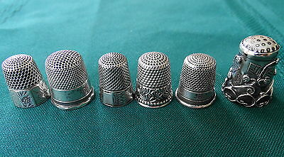 Lot of 6 Six  Antique  Sterling Silver Thimbles All Marked