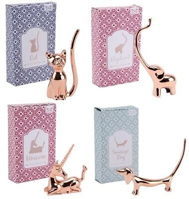 Gold Rose Ring Display Holder Organiser Cat Unicorn Dog Elephant Stag Silver
