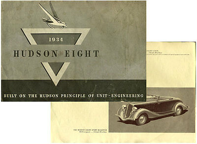 1934 Hudson Eight Automobile Sales Catalog/Brochure
